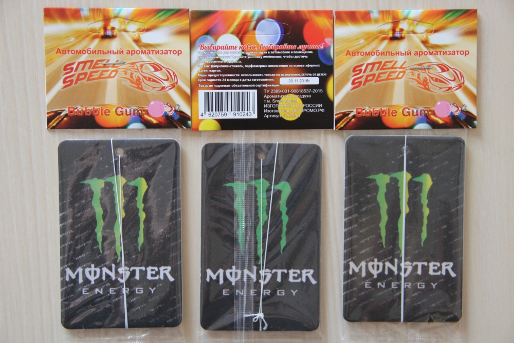 Ароматизатор в машину Monster Energy аромат Bubble Gum