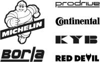 Наклейки на авто Michelin, Borla, Prodrive, Continental, KYB, Red Devil